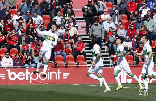 Iván Sánchez celebra el gol marcado al Mallorca.