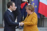 El presidente de Francia, Macron, y la canciller alemana Angela Merkel.
