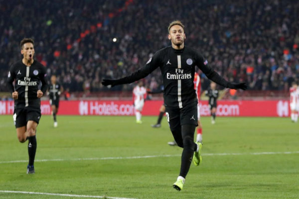 Neymar celebra un gol con el PSG esta temporada.