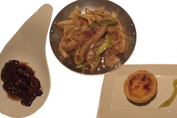 Costillas de cerdo marinado, Callos a la hongkones y Patei de Belem estilo Macao.