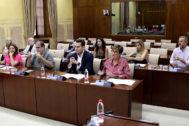 Los miembros de la primera comisión de investigación de la Faffe, reunido en el Parlamento.
