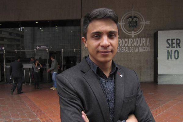 Lorent Saleh, ante la Procuradurìa General de la Nación, en Bogotá.