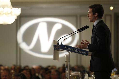 El presidente del PP, Pablo Casado, en el Fórum Nueva Economía