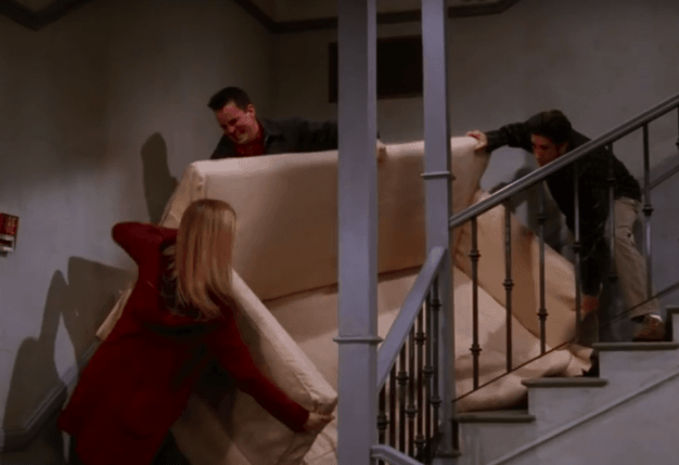 Rachel (Jennifer Anniston), Chandler (Matthew Perry) y Ross (David Schwimmer) en Friends