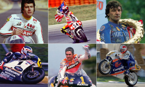 De izda a dcha: Agostini, Kevin Schwantz, Ángel Nieto (arriba), Spencer, Doohan, Sito Pons (abajo).