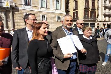 El portavoz de Cs en el Parlament, Carlos <HIT>Carrizosa</HIT>, y las diputadas Sonia Sierra y Noemí de la Calle
