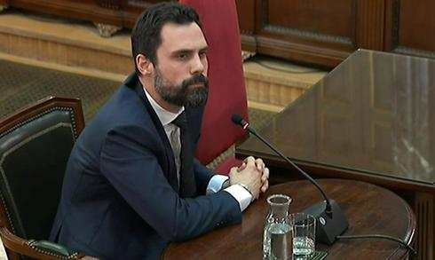 El presidente del Parlament, Roger Torrent, en su declaración en el juicio.