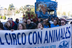 Manifestación de los trabajadores del circo en Madrid.