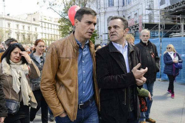 Pedro Sánchez y José Manuel Franco, el pasado 1 de mayo.