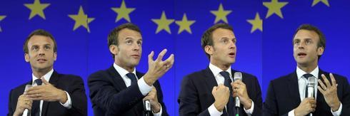Combinación de imágenes de un discurso de Emmanuel Macron.
