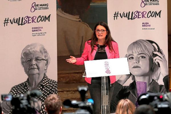 La vicepresidenta del Consell, Mónica Oltra, en el acto de presentación de la campaña con motivo del Día de la Mujer.