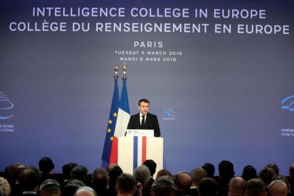 Emmanuel Macron durante su discurso de ayer en París.