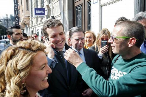 El presidente del PP, Pablo Casado, en Oviedo