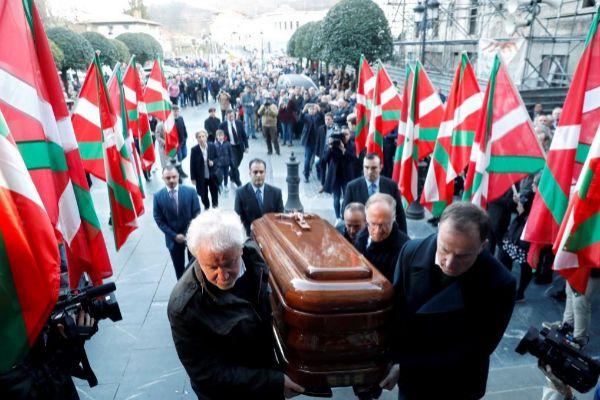El histórico dirigente del PNV Xabier Arzalluz, fallecido el jueves en Bilbao, el día de su entierro.
