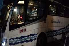 Así quedó el autobús HazteOír tras ser retirados los vinilos.