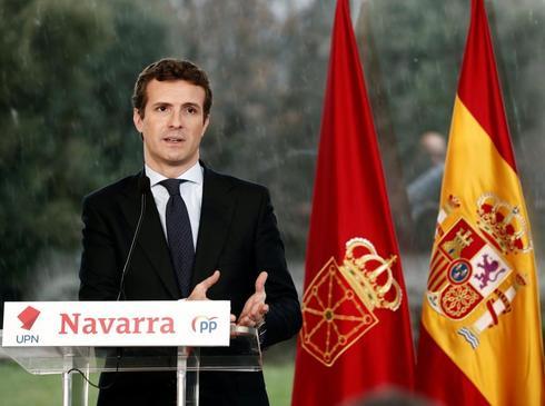El líder de PP, Pablo Casado, en un acto con UPN en Navarra.