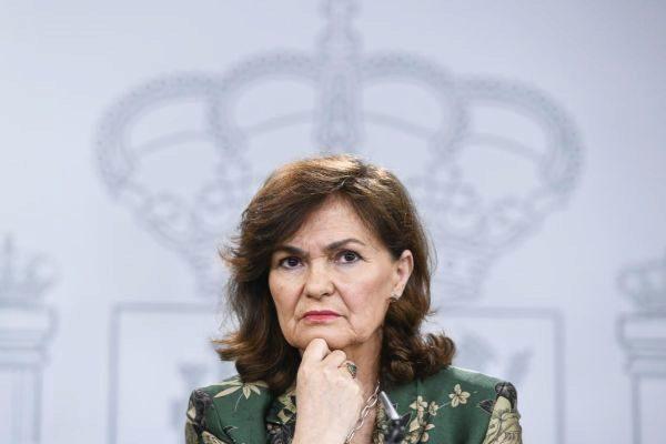 La vicepresidenta Carmen Calvo en una rueda de prensa posterior a Consejo de Ministros.