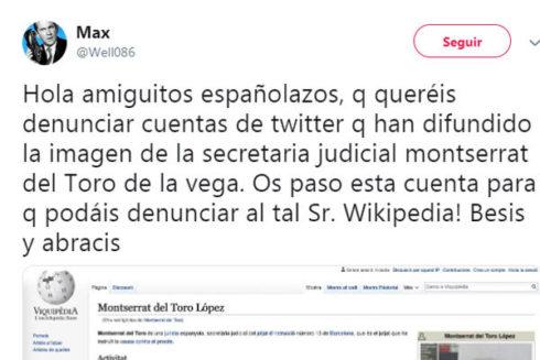 Mensaje en Twitter que ha difundido la imagen de la secretaria judicial.