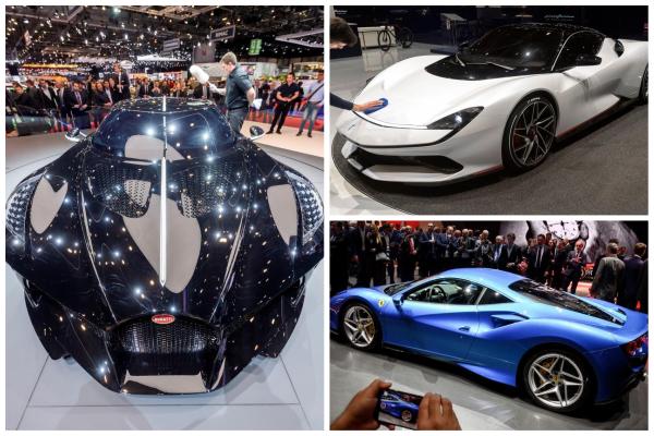 De izqda a dcha: Bugatti La Voiture Noire, Pininfarina Battista y FerrariF8 Tributo.