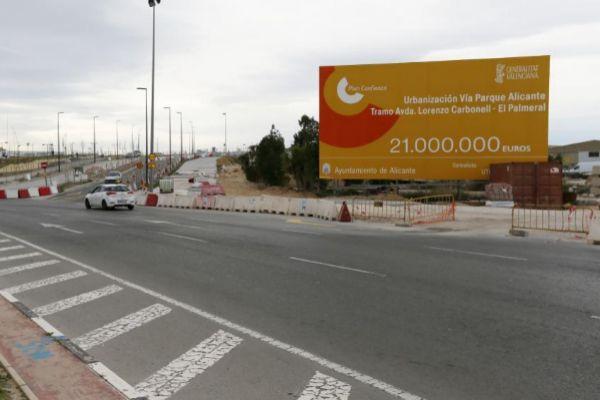 Obras de la vía parque junto al centro comercial Puerta de Alicante, en foto de archivo.