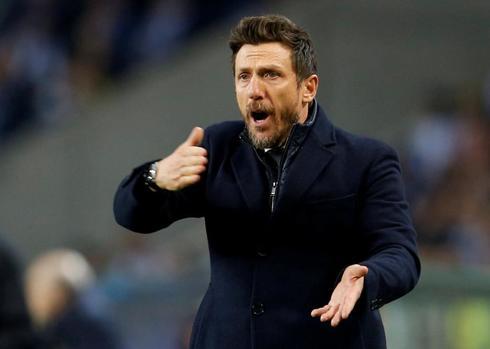 Di Francesco, durante un partido de la Roma.