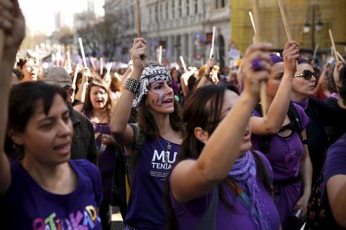 Mujeres manifestándose el 8 de marzo del año pasado en Madrid.