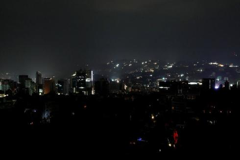 General view of the city during a blackout in Caracas
