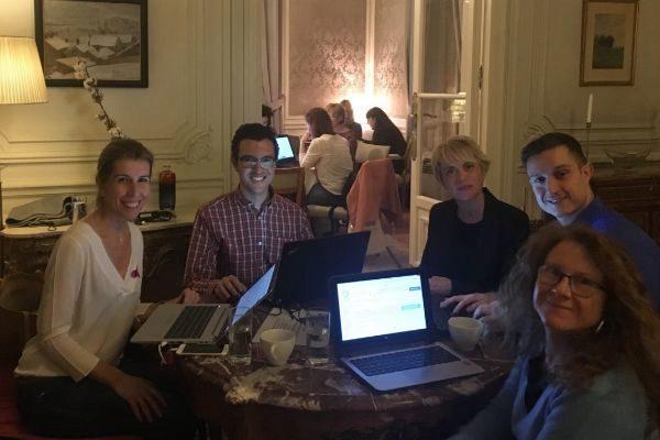 Luisa Muñoz (Ericsson), Daniel Alonso de las Heras (ABB), Carme Artigas (Synergic), Ricardo Martín (ABB) y Ana García Armada (Univ. Carlos III)  en WikiGap.
