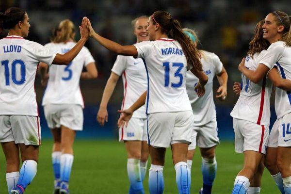 Las jugadoras de EEUU, durante un partido de 2016.