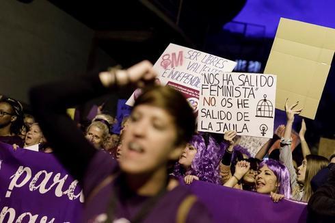 Mujeres manifestándose ayer, en las protestas del 8 de marzo.