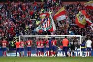 Los jugadores del Atlético, tras su victoria ante el Leganés.