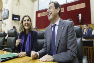 Juan Manuel Moreno, durante el pleno en el Parlamento andaluz.