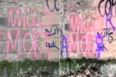 "La pintada ""Millo mort"" convertida en ""Millor amor"" por la hija de Enric Millo."