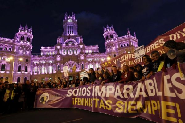 Cabecera de la marcha feminista celebrada en Madrid.