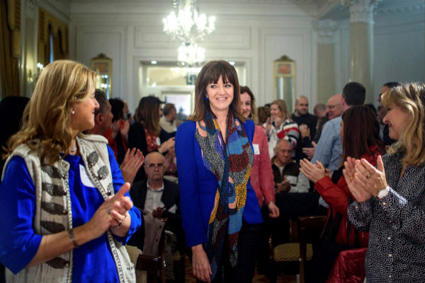 Idoia Mendia a su llegada al Comité Nacional extraordinario.