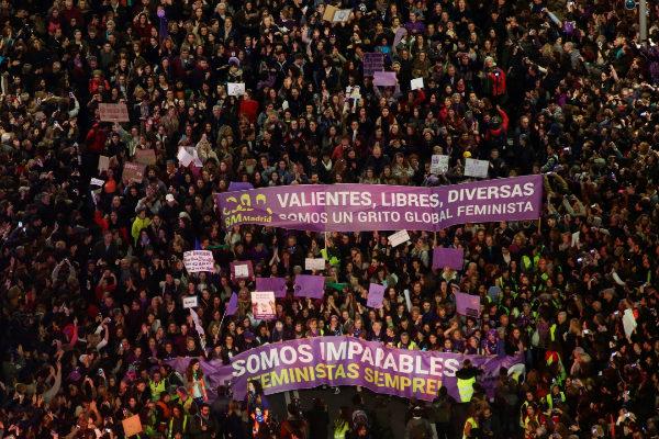 Manifestación feminista este 8-M en Madrid.