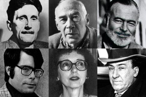 George Orwell, Henry Miller, Ernest Hemingway, Stephen King, Joyce Carol Oates y Antonio Machado