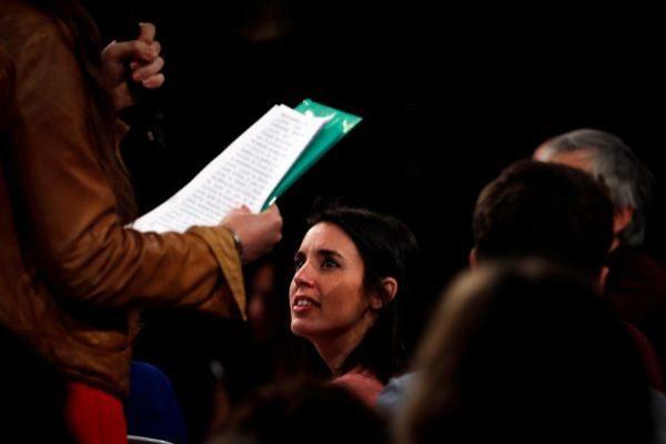Irene Montero, durante el acto de Podemos en San Sebastián