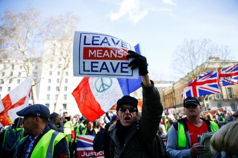 Defensores del Brexit se manifiestan en Londres.