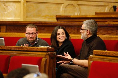 La bancada de la CUP en el Parlamento de Cataluña.