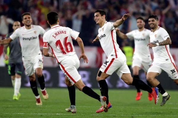 Ben Yedder festeja su último gol ante la Real Sociedad en el Pizjuán.