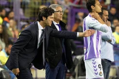 Solari, durante el partido en Valladolid.