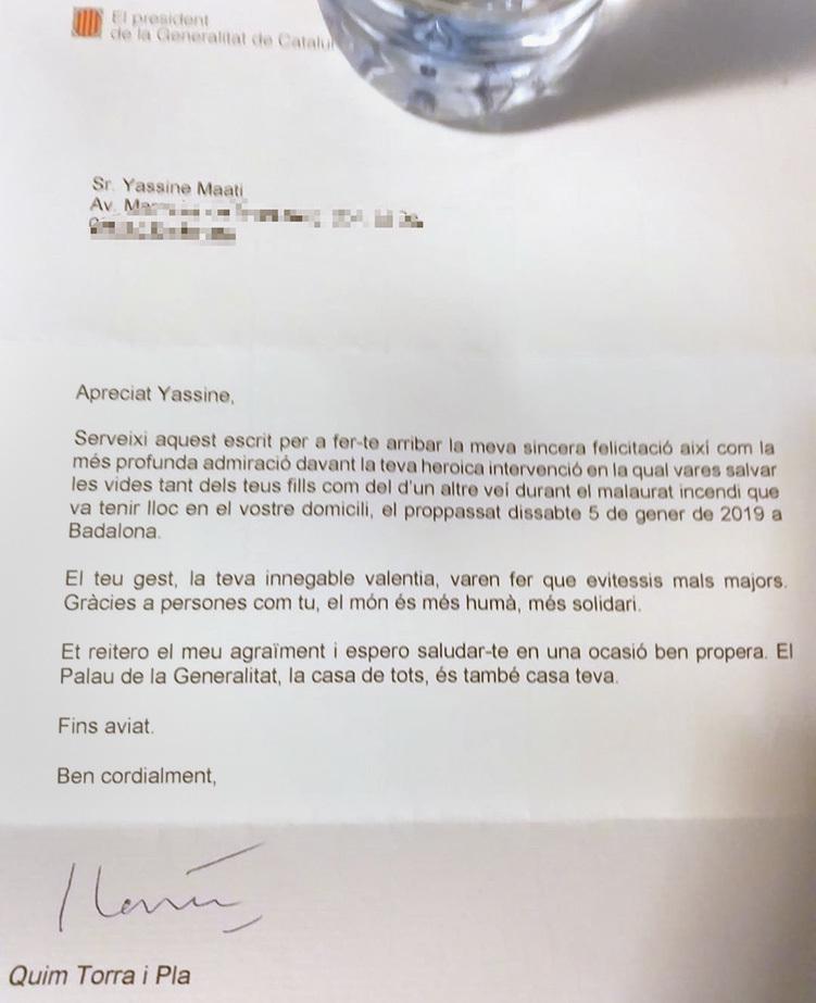 Carta del president al vecino que salvó varias vidas durante el incendio.