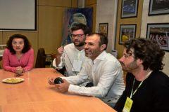 Dirigentes de Més en un acto de partido junto al asesor que fue investigado por cobrar del Govern, Jaume Garau .