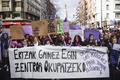 Cabecera de la manifestación de Bilbao.