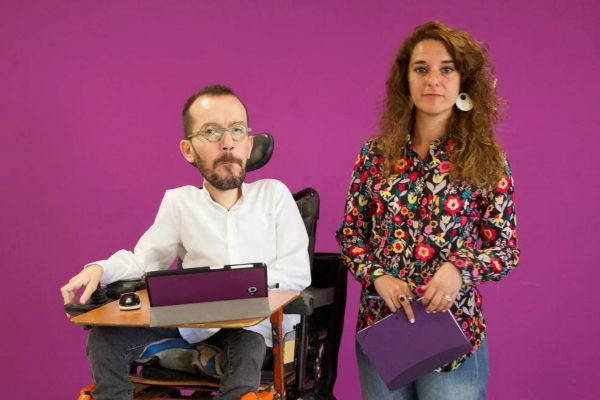 Pablo Echenique y Noelia Vera, durante la rueda de prensa en la sede de Podemos.