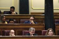 Carles Campuzano, Jordi Xuclá y Marta Pascal, en el Congreso
