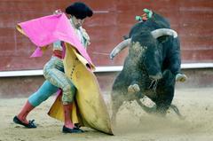 Ángel Tellez con el capote, este lunes, en Valencia
