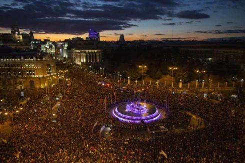 Imagen aérea de la Cibeles en la manifestación del 8M.