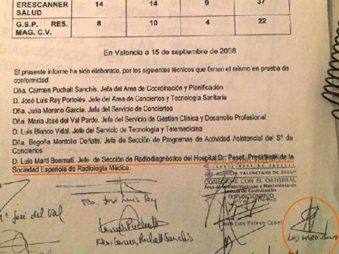 Documento que confirma que Luis Martí-Bonmatí firmó como asesor el concurso de RM de 2008.